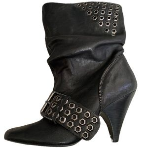 Naughty Monkey Black Leather Boots Booties